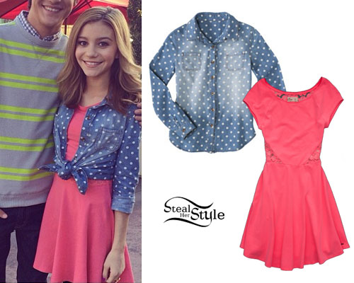 G Hannelius: Dot Denim Shirt, Pink Dress