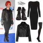 Hayley Williams: Black Long Sleeve Midi Dress Outfit
