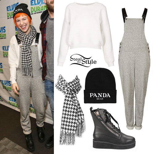 Hayley Williams: Gray Overalls Outfit