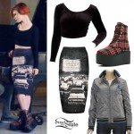 Hayley Williams: Car Print Skirt, Plaid Boots