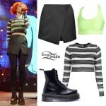 Hayley Williams: Mesh Stripe Top, Wrap Skort