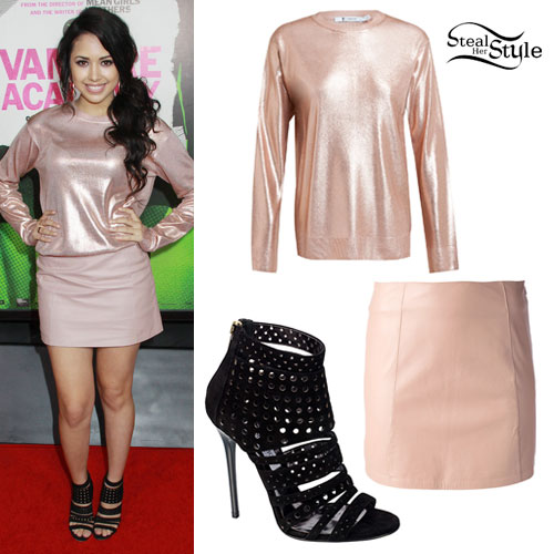 Jasmine Villegas: Metallic Sweater, Leather Skirt