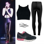 Jessie J: Black Crop Top & Disco Pants