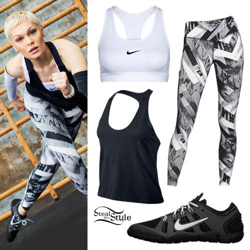 391b4f710d Jessie J  Nike Gray Print Leggings Outfit