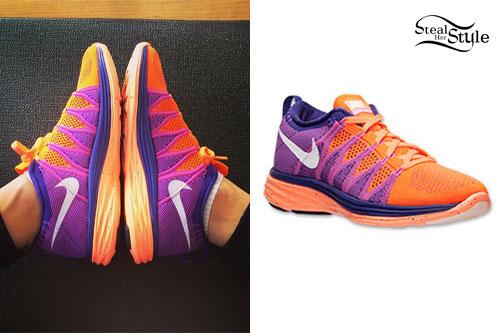 "79b2ef81e085 Jessie J  Purple   Orange Nike Sneakers. """
