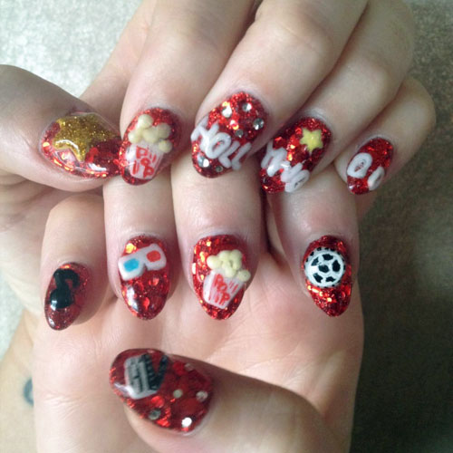 Katy Perry Red Charms Glitter Music Notes Nail Art Stars