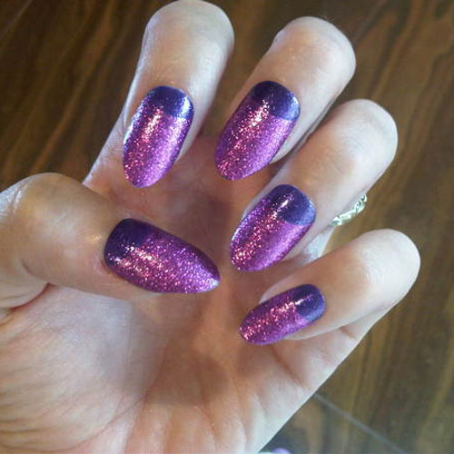 katy perry purple glitter half moon nails steal her style