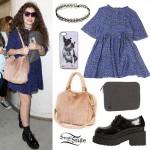 Lorde: Furry Bag, Blue Leopard Dress