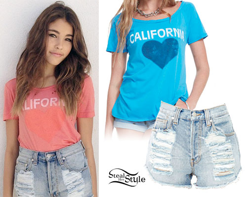 Madison Beer: California Tee, Denim Shorts