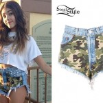 Madison Beer: Camo Denim Shorts