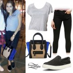 Madison Beer: Gray Tee, Colorblock Bag