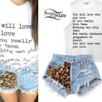 Madison Beer: Leopard Denim Shorts