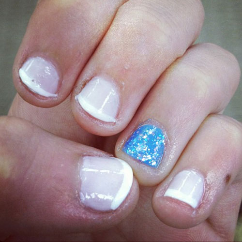 Madison Beer Blue White French Manicure Glitter Nails