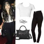 Madison Beer: White Tee, Black Skinny Jeans