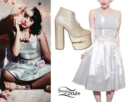 Melanie Martinez: Silver Crop Top & Skirt