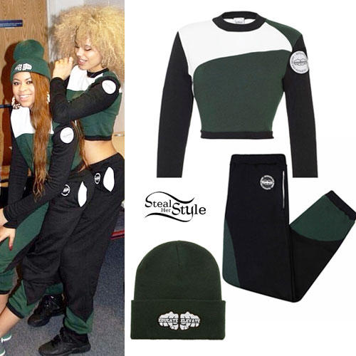 Amira McCarthy and Jess Plummer: Green Black Colorblock Jumper and Joggers