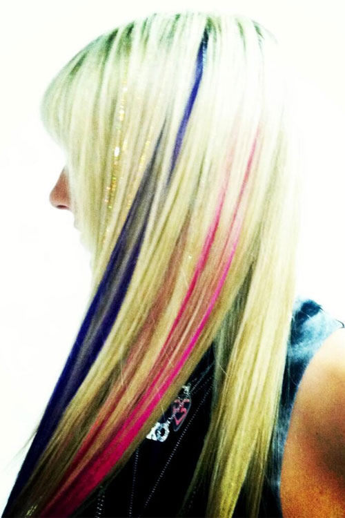 pics for gt blonde hair with pink and blue highlights