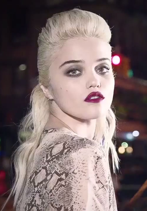 Sky Ferreira Wavy Platinum Blonde Half Up Half Down
