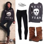 Tay Jardine: Hell Yeah Sweater, Brown Boots