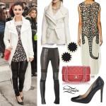 Victoria Justice: Leopard Tunic, Leather Leggings