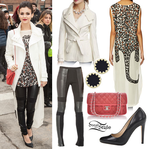 Victoria Justice: Leopard Tunic, Leather Leggings