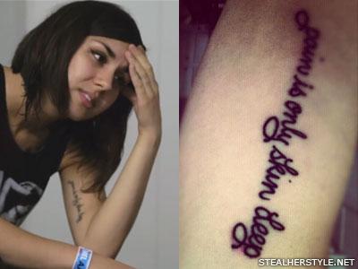 Yasmine Yousaf bicep tattoo