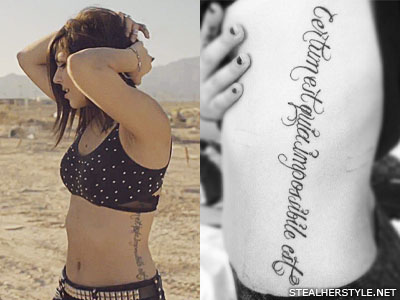 Yasmine Yousaf side tattoo