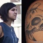 Yasmine Yousaf skull tattoo