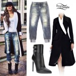 Zendaya: Black Coat, Sweatpant Jeans