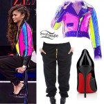 Zendaya: Colorblock Leather Jacket