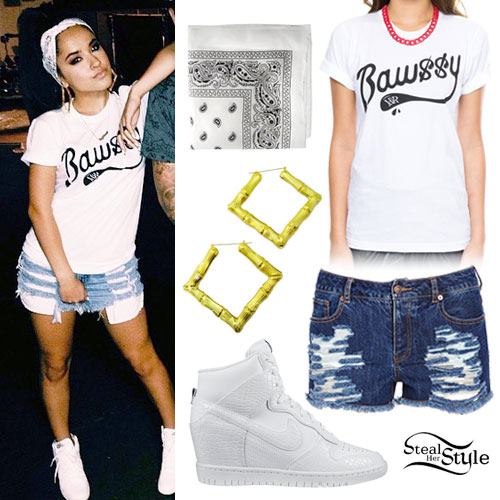 Becky G: Bawssy T-Shirt, Denim Shorts