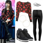 Becky G: Rose Print Sweatshirt Outfit