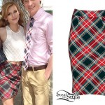Bella Thorne: Red & Navy Plaid Skirt