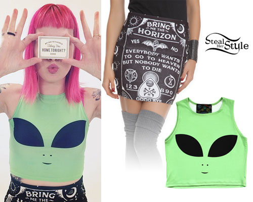 Beth Lucas: Green Alien Crop Top