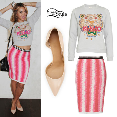 Beyonce: Tiger Sweater, Stripe Skirt
