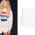 Beyoncé: White Textured Wrap Skirt