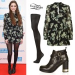 Birdy: Black Floral Romper, Ankle Boots
