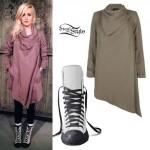 Carah Faye Charnow: Draped Coat, Sneaker BootsCarah Faye Charnow: Draped Coat, Sneaker Boots