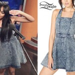 China Anne McClain: Denim Pinafore Dress