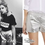 Chloe Chaidez: Metallic Silver Shorts