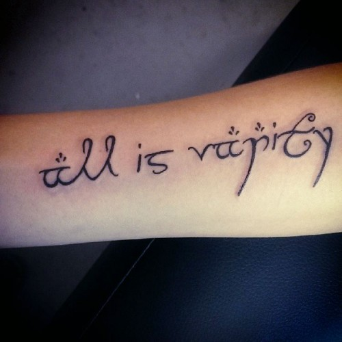 """Christina Grimmie """"All Is Vanity"""" Forearm Tattoo 