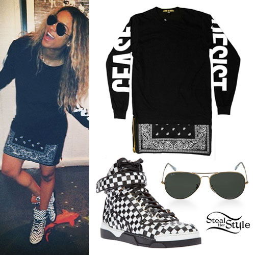 Ciara Bandana Dress Checkered Sneakers Steal Her Style