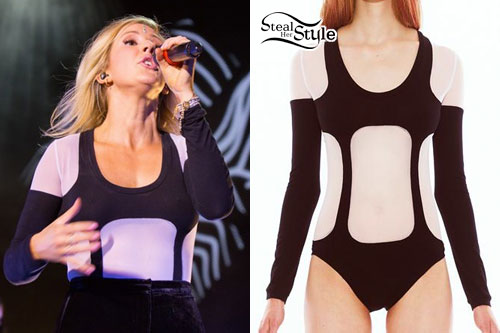 Ellie Goulding: Black & White Mesh Bodysuit