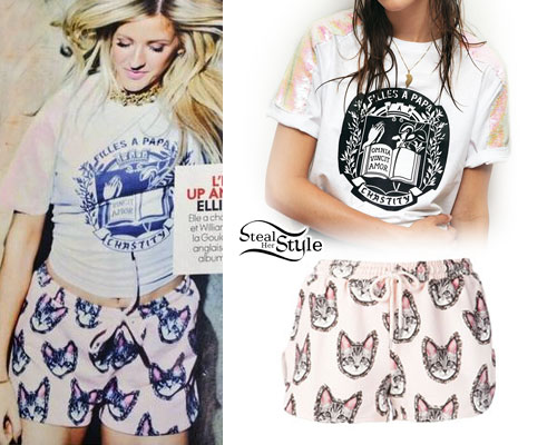 Ellie Goulding: Cat Print Shorts, Sequin Raglan