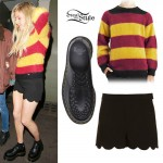 Ellie Goulding: Red & Yellow Striped Sweater