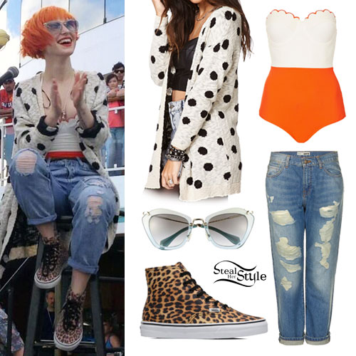Hayley Williams: Dot Cardigan, Leopard Vans