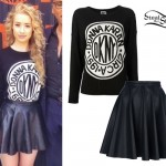 Iggy Azalea: DKNY Sweater, Leather Skirt