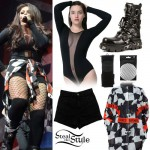 Jesy Nelson: Mesh Bodysuit, Checked Shirt