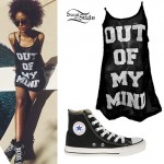 Justine Skye: Mesh Dress, Converse Hi-Tops