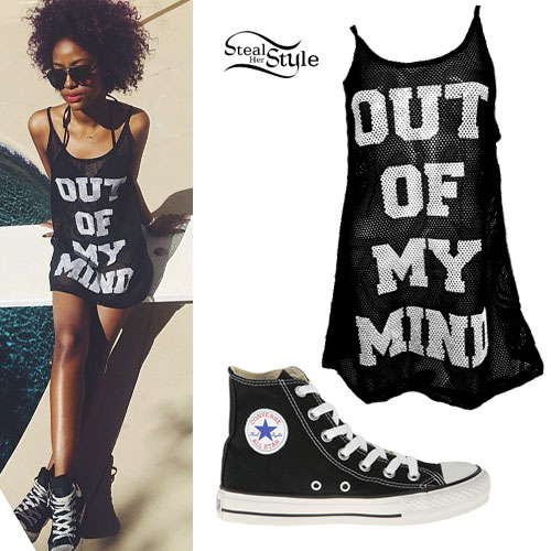 Justine Skye: Mesh Dress, Converse Hi-Tops
